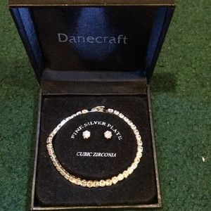 Silver plated bracelet and earring set